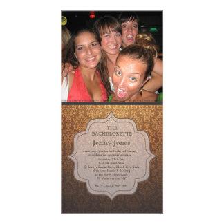 Bachelorette Party Caramel Damask Photo Invite Photo Card