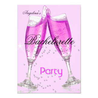 Bachelorette Party Champagne pink 13 Cm X 18 Cm Invitation Card