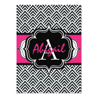 Bachelorette Party Chevron Chic Hot Pink Monogram 14 Cm X 19 Cm Invitation Card