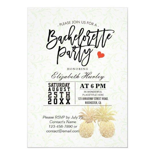 Bachelorette Party Chic Gold Foil Pineapple Couple Card