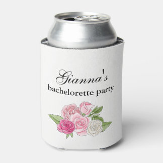 Bachelorette Party Coozie Can Cooler Pink Floral