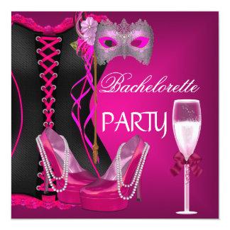 Bachelorette Party Corset Black Pink Shoes mask Card