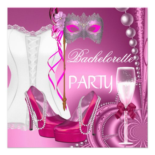 Bachelorette Party Corset Pink Shoes mask Personalized Announcements