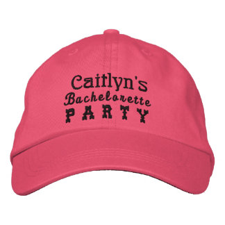 BACHELORETTE PARTY Custom Name BLACK B5 Embroidered Hats