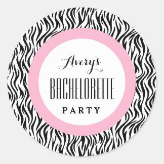 BACHELORETTE PARTY Custom Name V01 BLACK PINK Classic Round Sticker