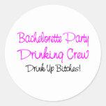 Bachelorette Party Drinking Crew Round Sticker