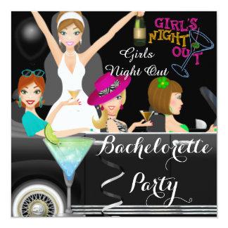 Bachelorette Party Fun Limo Car Cocktails 13 Cm X 13 Cm Square Invitation Card