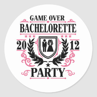 Bachelorette Party Game Over 2012 Round Sticker