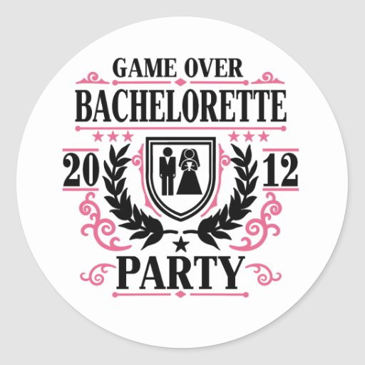 Bachelorette Party Game Over 2012 Round Stickers