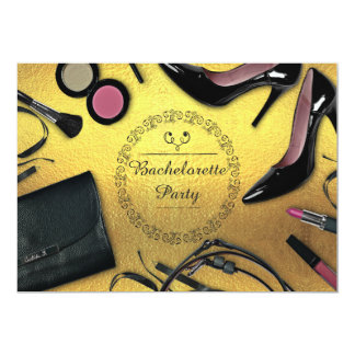 Bachelorette Party Glam Gold Shoes and Make Up Card