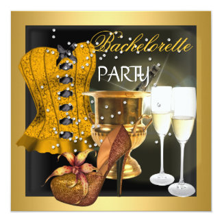 Bachelorette Party Gold Black Corset Shoes Card
