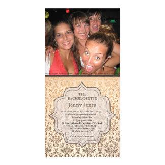 Bachelorette Party Gold Champagne Damask Invite Personalized Photo Card