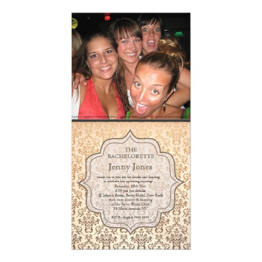 Bachelorette Party Gold Champagne Damask Invite Photo Card Template