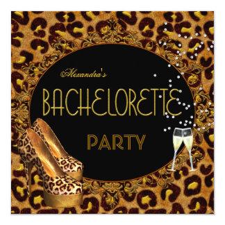 Bachelorette Party Gold Leopard Black Shoes 5 13 Cm X 13 Cm Square Invitation Card