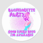 Bachelorette Party Good Lucky Boys Round Stickers
