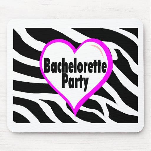 Bachelorette Party (Heart Zebra Stripes) Mouse Pads