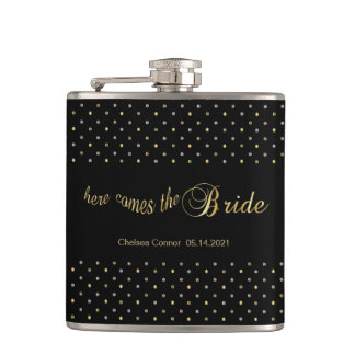 Bachelorette Party - Here Comes The Bride - Black Hip Flask