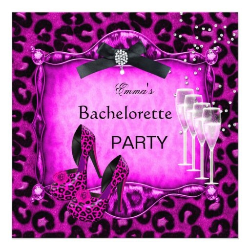 Bachelorette Party Hot Pink Leopard Black Shoes Custom Invitations