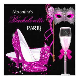 Bachelorette Party Hot Pink Masquerade Champagne 13 Cm X 13 Cm Square Invitation Card