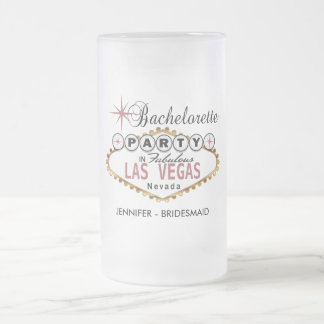 Bachelorette Party in Las Vegas - Dusty Rose Frosted Glass Beer Mug