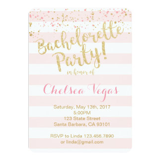 Bachelorette Party Invitation in Pink and Gold