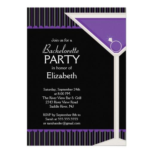 Bachelorette Party Invitation Purple Martini Glass