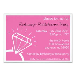 Bachelorette Party Invite (Diamond Ring Dark Pink)