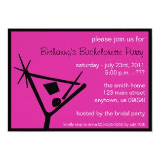 Bachelorette Party Invite Martini Glass Raspberry