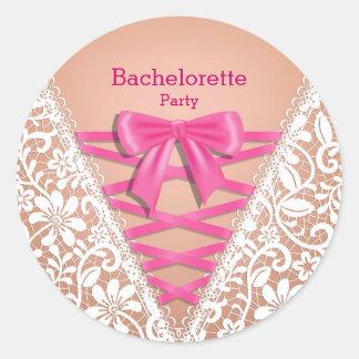 Bachelorette Party Lace Lingerie Corset Round Sticker