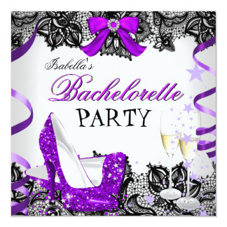Bachelorette Party Lace Purple High Heel Champagne 13 Cm X 13 Cm Square Invitation Card