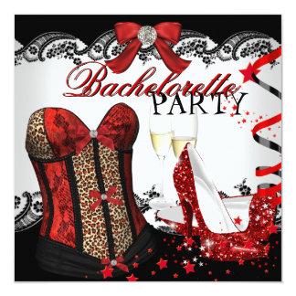 Bachelorette Party Lace Red Corset Champagne 13 Cm X 13 Cm Square Invitation Card