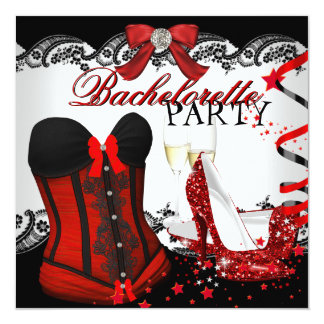 Bachelorette Party Lace Red Corset high heels 13 Cm X 13 Cm Square Invitation Card