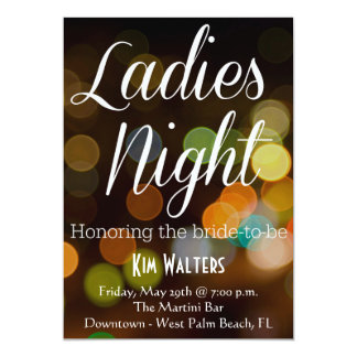 Bachelorette Party Ladies Night | City Bokeh 13 Cm X 18 Cm Invitation Card