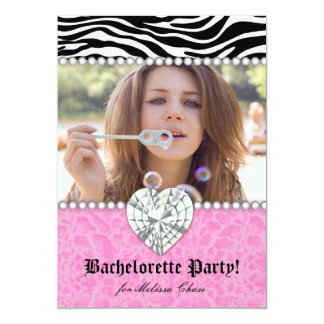 Bachelorette Party leopard Pearls Lace Heart Pink Card