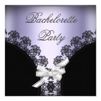 Bachelorette Party Lilac Purple Black Lace 13 Cm X 13 Cm Square Invitation Card