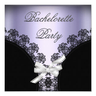 Bachelorette Party Lilac Purple Black Lace Card