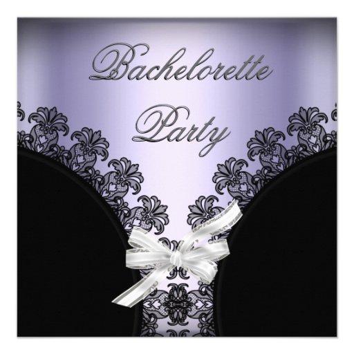 Bachelorette Party Lilac Purple Black Lace Custom Invitations