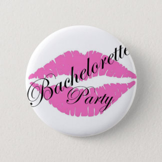 Bachelorette party lips pink 6 cm round badge