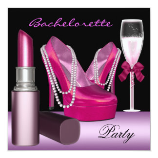 Bachelorette Party Lipstick Pink Shoes Champagne Card