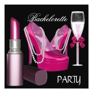 Bachelorette Party Lipstick Pink Shoes Champagne 5.25x5.25 Square Paper Invitation Card