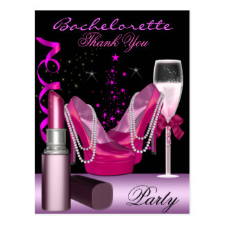 Bachelorette Party Lipstick Pink Shoes Champagne Postcard