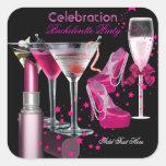Bachelorette Party Lipstick Pink Shoes Champagne Square Sticker