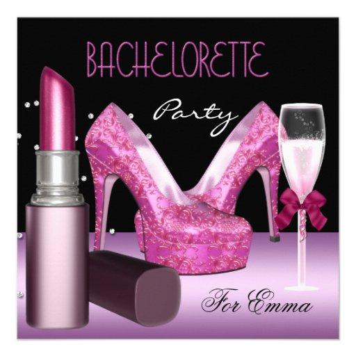Bachelorette Party Lipstick Pink Shoes Personalized Invite