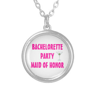 Bachelorette Party Maid of Honor Martini Custom Round Pendant Necklace