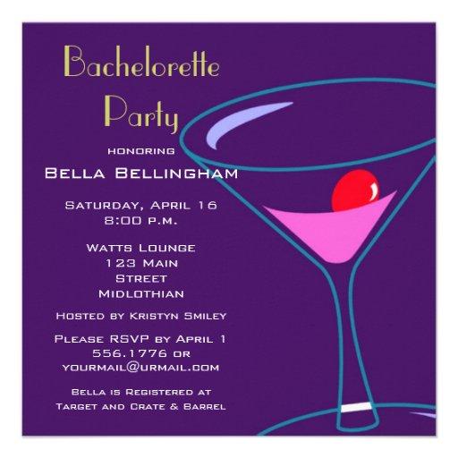 Bachelorette Party Martini Glass Invitation