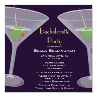 """Bachelorette Party Martini Invitation 5.25"""" Square Invitation Card"""