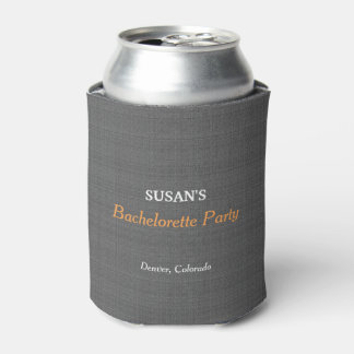 Bachelorette Party Modern Rustic Dark gray burlap Can Cooler