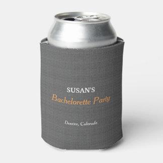 Bachelorette Party Modern Rustic Dark gray burlap Can Cooler