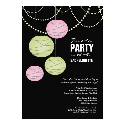Bachelorette Party Pink Green Paper Lanterns Invitation