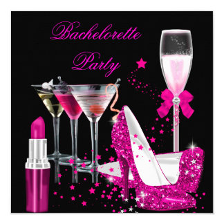 Bachelorette Party Pink Lipstick Champagne Heels Card